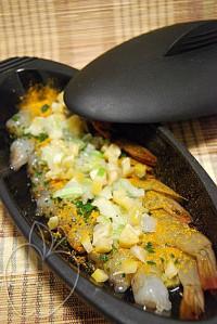 Crevettes au citron confit et son risotto de tête de gamba