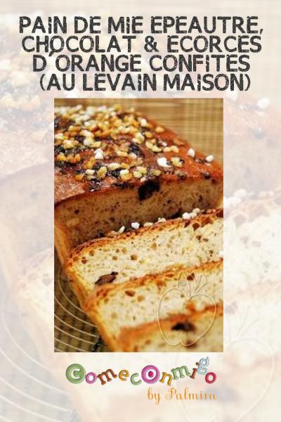 PAIN DE MIE EPEAUTRE, CHOCOLAT & ECORCES D'ORANGE CONFITES (AU LEVAIN MAISON)
