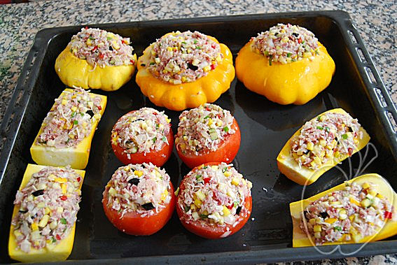 Verduras rellenas con dúo de jamón (1)