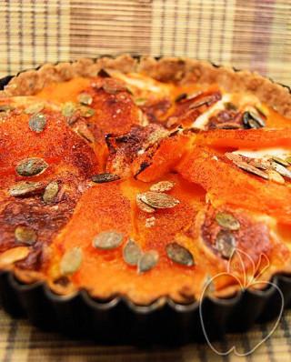 Tarta integral (salada) de calabaza, mozzarrella y cacao (5