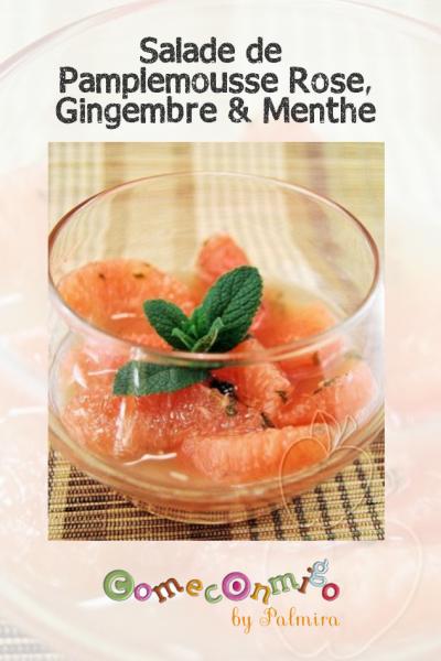 Salade de pamplemousse rose gingembre et menthe