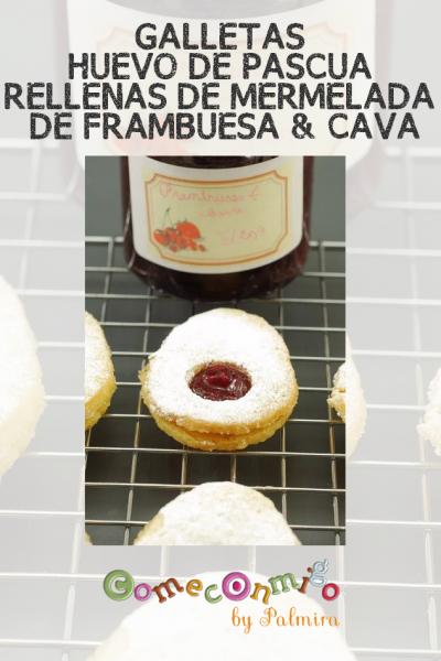GALLETAS HUEVO DE PASCUA RELLENAS DE MERMELADA DE FRAMBUESA & CAVA
