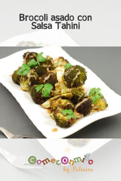 Brócoli asado con salsa tahini